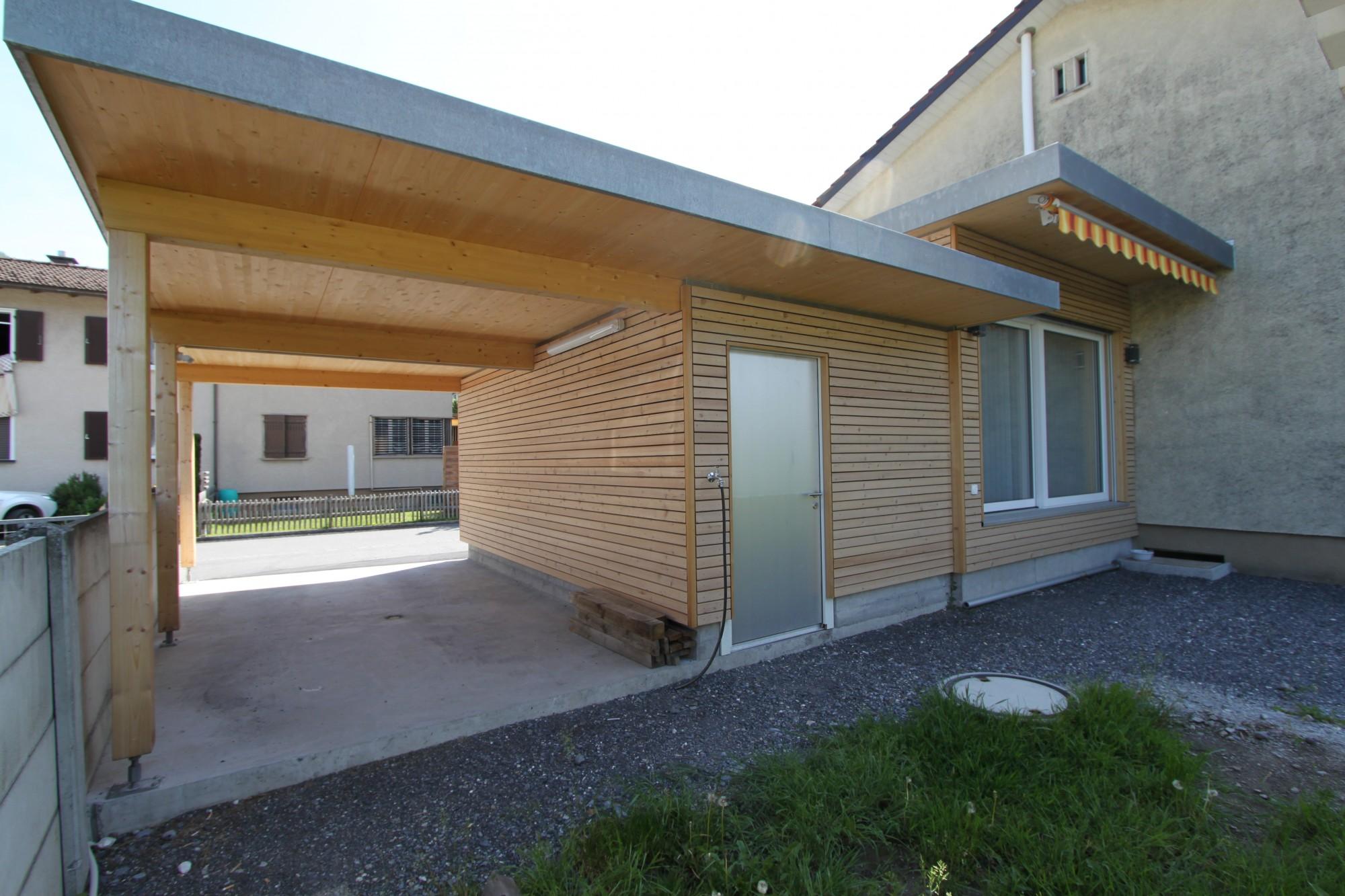 anbau mit carport in mels sg j ger holzbau ag. Black Bedroom Furniture Sets. Home Design Ideas